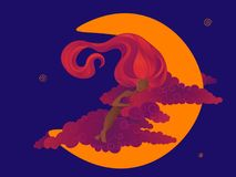 Sommeil de Dreamgirl sur la lune Photos libres de droits