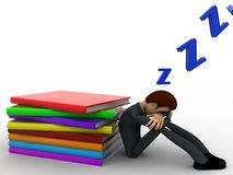 sommeil de l'homme 3d tandis que concept de livre de lecture Photos stock
