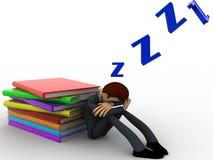 sommeil de l'homme 3d tandis que concept de livre de lecture Image stock
