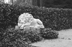 Sommeil de lion de statue noir et blanc Photographie stock libre de droits