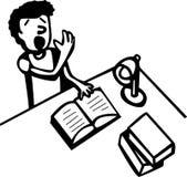 Sommeil en baisse d'étudiant tout en affichant un livre illustration de vecteur