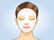 Sommeil facial de masque de feuille de femmes Photo stock