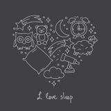 sommeil Icônes sous forme de coeur illustration libre de droits
