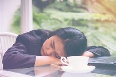 Sommeil lourd de charge de travail de femme d'affaires au bureau avec du café d'ordinateur portable de feuille de finances concep Photo stock