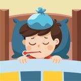 Sommeil mignon en difficulté de garçon dans le lit illustration de vecteur