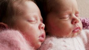 Sommeil nouveau-né de deux jumeaux photographie stock libre de droits