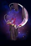 Sommeil sur la lune illustration de vecteur