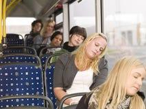 Sommeil sur le bus Photographie stock libre de droits