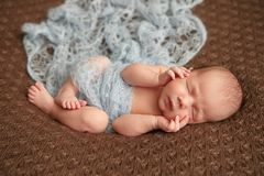 Sommeil tendre de bébé nouveau-né sur la couverture de couturier de laine Soin humain pur d'humanité de foi d'amour de valeur Photo libre de droits