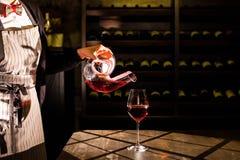 Sommelier που κρατά μια καράφα με το κόκκινο κρασί και που χύνει το κρασί σε ένα γυαλί Θέση υπόγειων θαλάμων κρασιού Στοκ Εικόνα