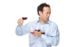 The sommelier. Full isolated studio picture from a man tasting some wine Stock Images
