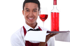 Sommelier. Serving a ros� wine Stock Image