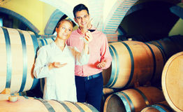 Sommelier advising male customer in winery cellar Royalty Free Stock Photo