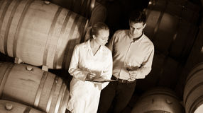 Sommelier advising male customer in winery cellar Stock Photo
