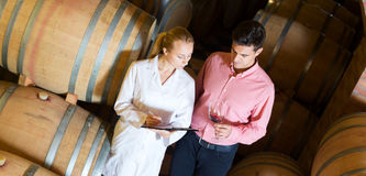 Sommelier advising male customer in winery cellar Royalty Free Stock Photography