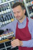 Sommelier butchery red glass wine. Sommelier butchery a red glass of wine Royalty Free Stock Photos