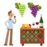Sommelier dans la suite regardant le vin rouge dans l'illustration professionnelle en verre de vecteur de caractère d'homme de re illustration de vecteur