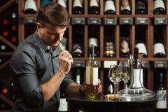 Sommelier i degustating dryck för vinkällare Arkivbild