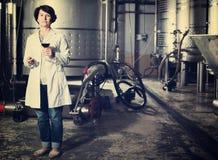Sommelier kobieta na wytwórnii win Obraz Stock