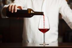 Sommelier masculino que vierte el vino rojo en las copas de tallo largo fotografía de archivo libre de regalías