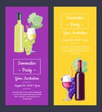 Sommelier Party Invitation auf Vektor-Illustration Stockbilder