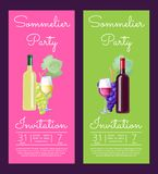 Sommelier Party Invitation on Vector Illustration. Sommelier party invitation with information concerning event, wine bottle and half full glasses with drinks of Royalty Free Stock Photo