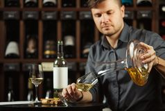 Sommelier pours white wine from decanter to the glass. Sommelier pouring previously decants white wine beverage from special mixing container into transparent royalty free stock image