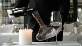 Sommelier Pouring Red Wine en la jarra Primer metrajes