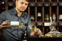 Sommelier pouring white wine from bottle in glass stock photos