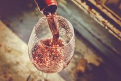 Wine Tasting, Restaurant, St. Valentine`s Day, close up. Sommelier pours wine into a glass. Date, Wine Tasting, Restaurant, St. Valentine`s Day stock photography