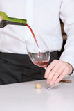 Sommelier pours wine into glass. Delicious wine. Close up of a sommelier pouring wine into the glass Stock Images