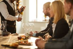Sommelier Presenting Wine royalty free stock photos