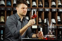 Sommelier regardant le verre de vin rouge avec la boisson photographie stock