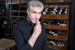 Sommelier selects wine Stock Photos