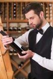 Sommelier som väljer vin royaltyfria foton