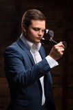 Sommelier tasting red wine Royalty Free Stock Image