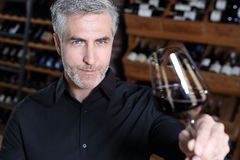 Sommelier tasting red wine Stock Photo