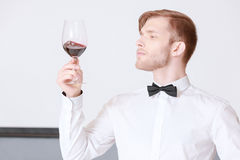 Sommelier testing red wine Stock Image