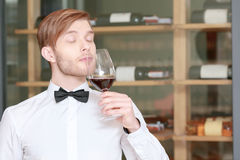 Sommelier testing red wine. Professional sommelier. Close-up of a young sommelier testing wine flavor with his eyes closed Stock Image