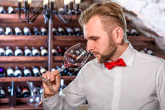 Sommelier in the wine cellar. Sommelier checking wine in the glass in the wine cellar royalty free stock photos