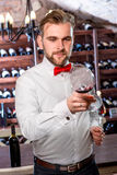 Sommelier in the wine cellar. Sommelier kneading wine in the wine glass in the wine cellar royalty free stock photos