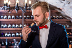 Sommelier in the wine cellar. Sommelier smelling corck in the wine cellar Stock Image