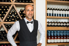 Sommelier in wine shop Royalty Free Stock Photos