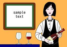 Sommelier woman with copy space. Beautiful sommelier woman with copy space vector illustration