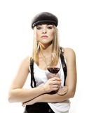Sommelier. Woman is tasting red wine on white background royalty free stock image