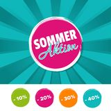 Sommer Aktion Banner und 10%, 20%, 30% & 40% reduziert Buttons. Eps10 Vector. Sommer Aktion Banner und 10%, 20%, 30% & 40% reduziert Buttons. Eps10 Vector Royalty Free Stock Photos