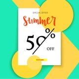 Sommer Anzeigenfahne, Weinlesetextdesign verkaufend Sommer fünfzig-Prozent-Rabatt Feiertagsrabatte, Verkaufshintergrund auf a lizenzfreie abbildung
