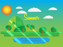 Sommer Auch im corel abgehobenen Betrag Sommerpark mit grünem Gras und tre Lizenzfreie Stockbilder