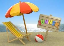 Sommer auf dem Strand - 3D Lizenzfreies Stockbild