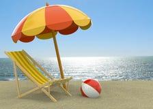 Sommer auf dem Strand - 3D Stockfotografie